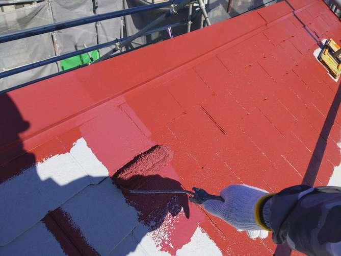 屋根中塗り作業