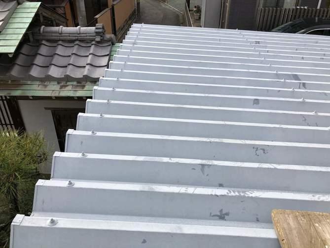 カーポート屋根水洗い完了
