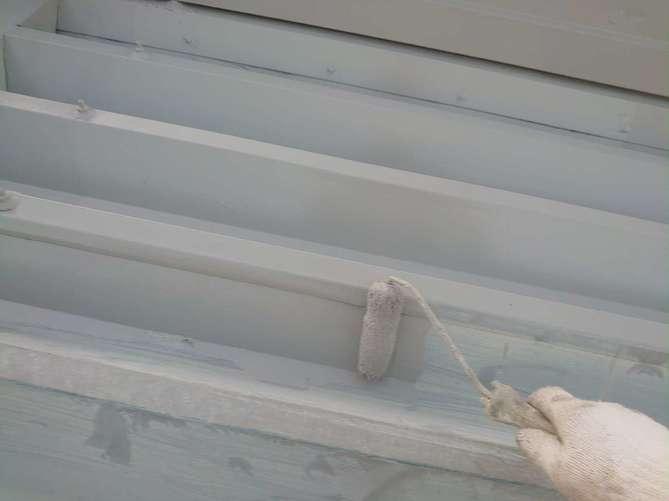 折半屋根 下塗り作業